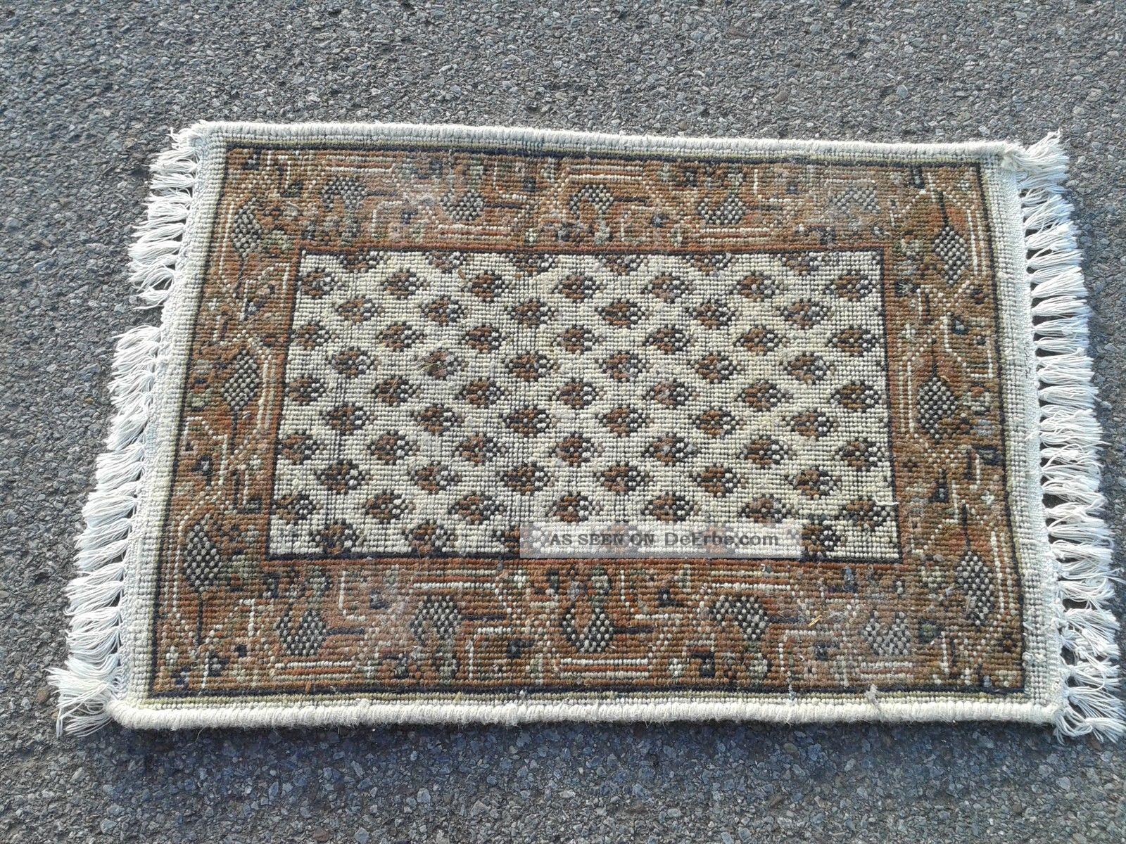 antiker teppich l ufer beige ca 40cmx 66cm mit fransen rauten schwarz braun. Black Bedroom Furniture Sets. Home Design Ideas