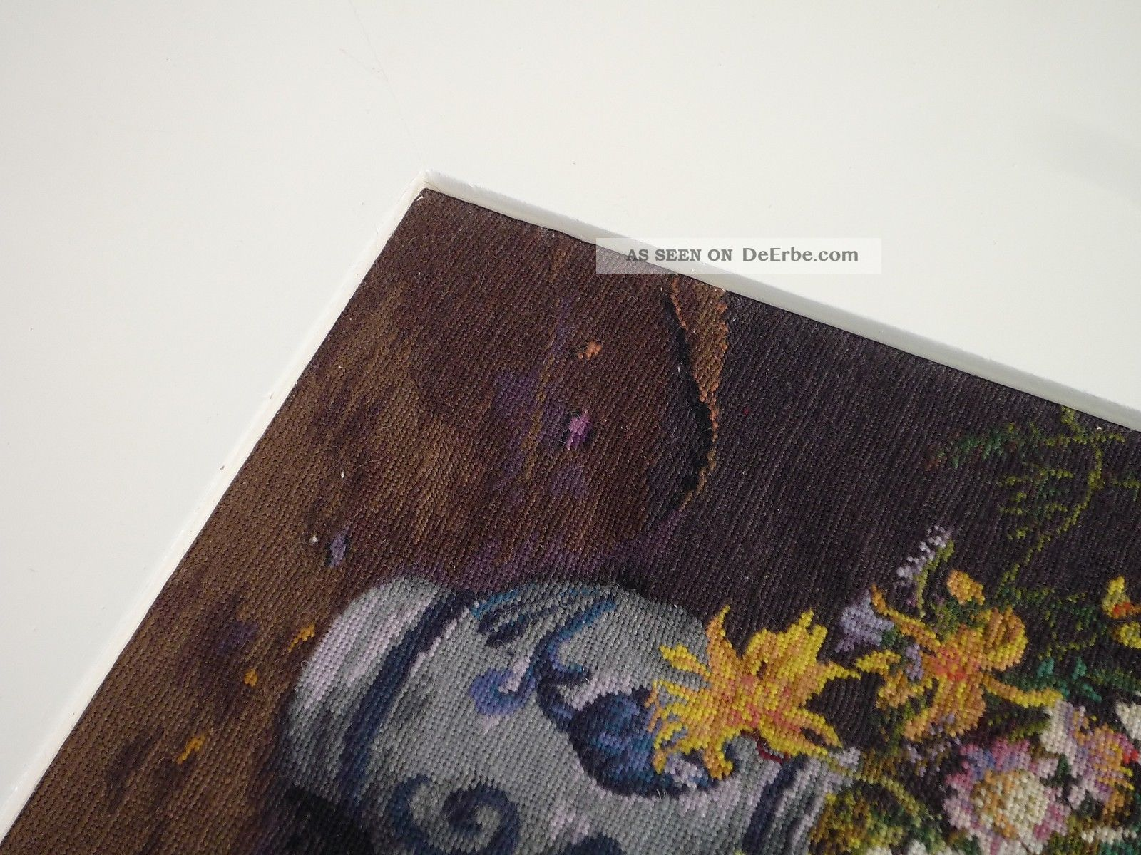 Petit Point Feldblumen Strauss Steingut - Vase Feine Stickerei Um ...