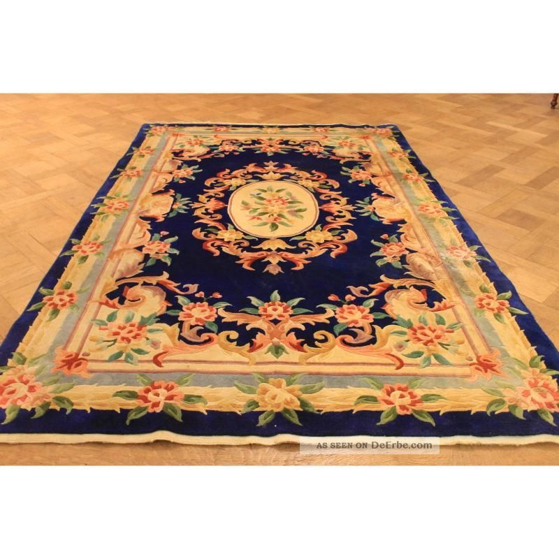 prachtvoller edeler handgekn pfter china art deco aubusson teppich rug 150x250cm. Black Bedroom Furniture Sets. Home Design Ideas