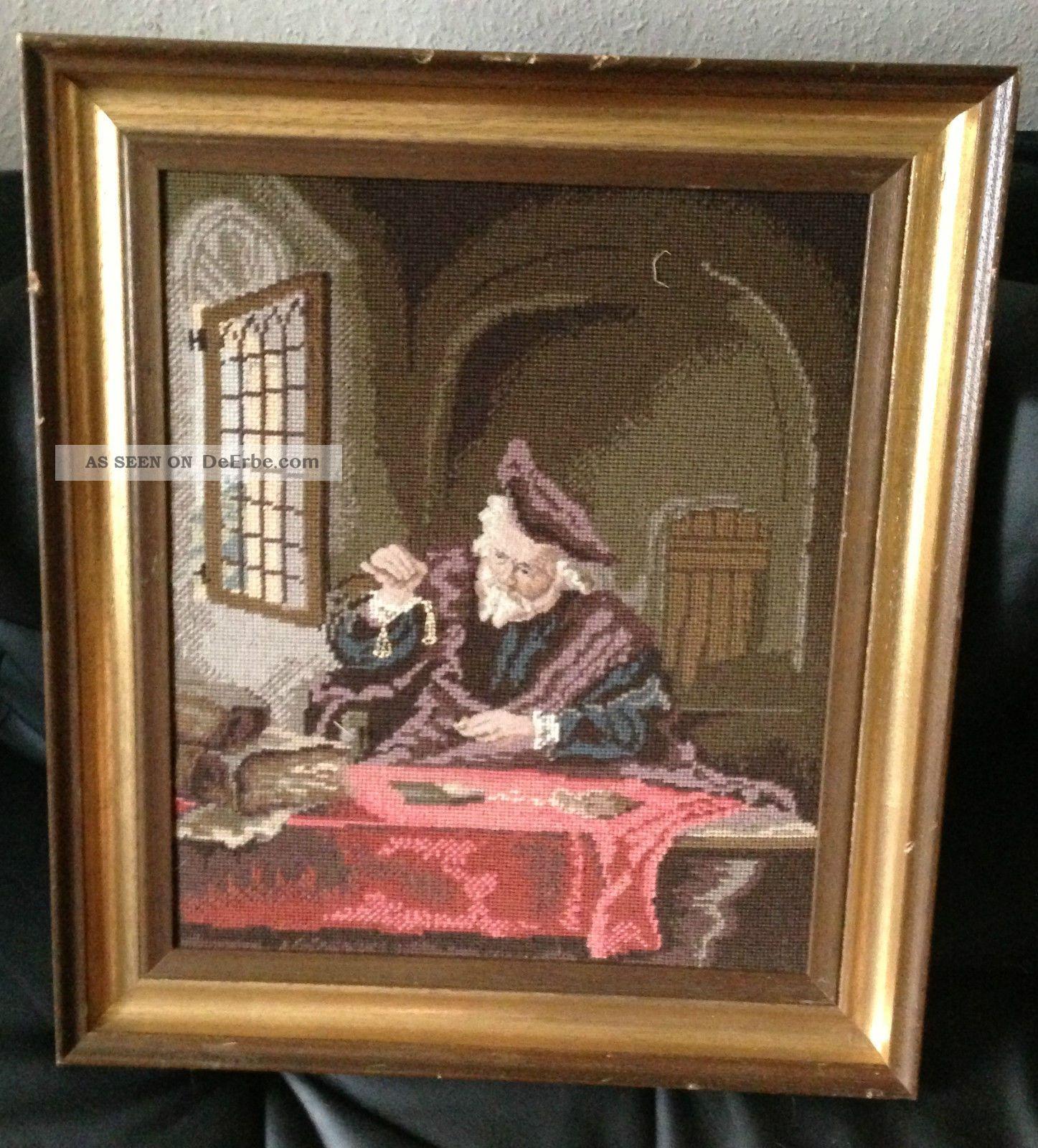 antik edel holz bilderrahmen gold verzierungen gobelin bild gem lde 61x53cm. Black Bedroom Furniture Sets. Home Design Ideas