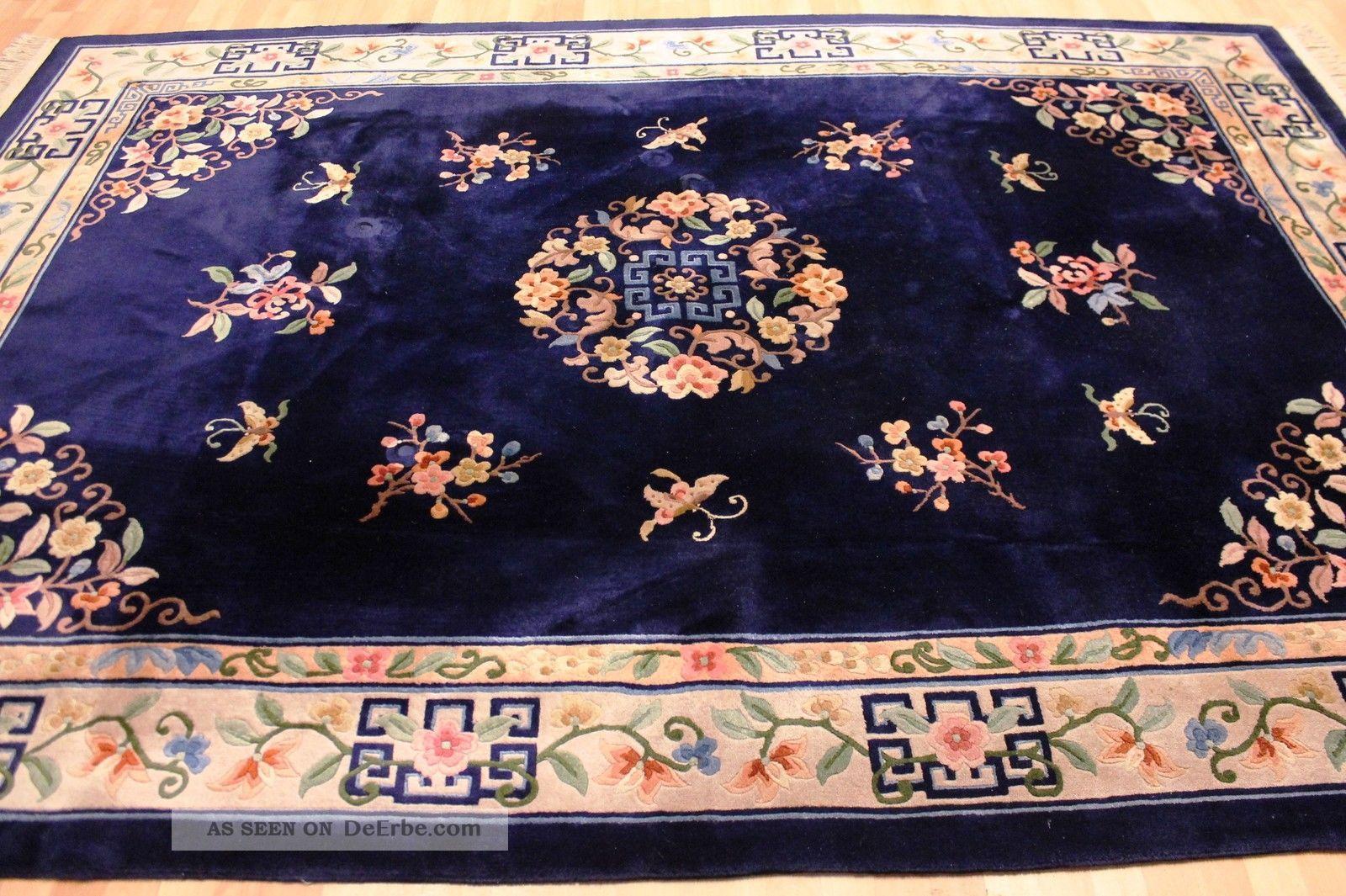 Aubusson Art Deco China Teppich Seiden Glanz 315x220cm
