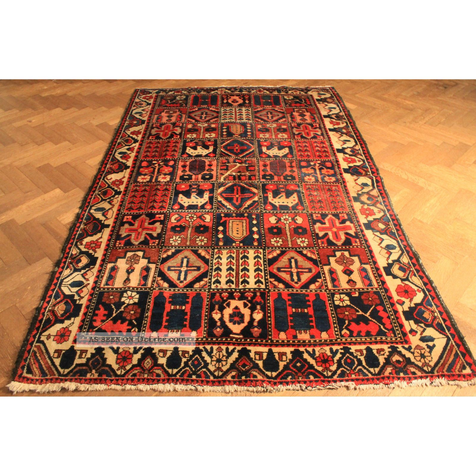 selten antiker handgekn pfter orient perser teppich felder garten bachtiari rug. Black Bedroom Furniture Sets. Home Design Ideas