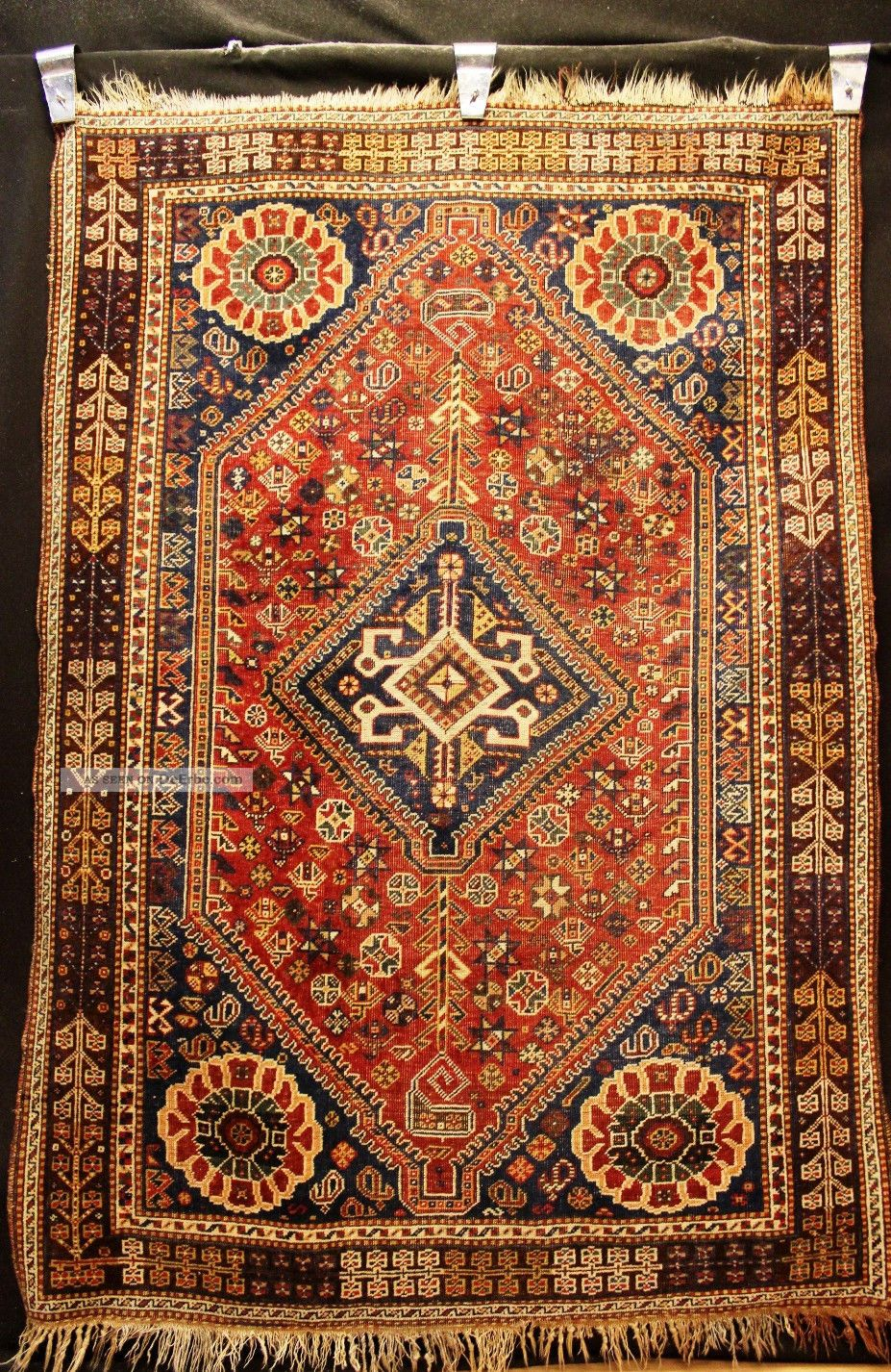 70 80 jahre antiker khamsee gashgai kazak teppich old rug carpet 195x135cm. Black Bedroom Furniture Sets. Home Design Ideas