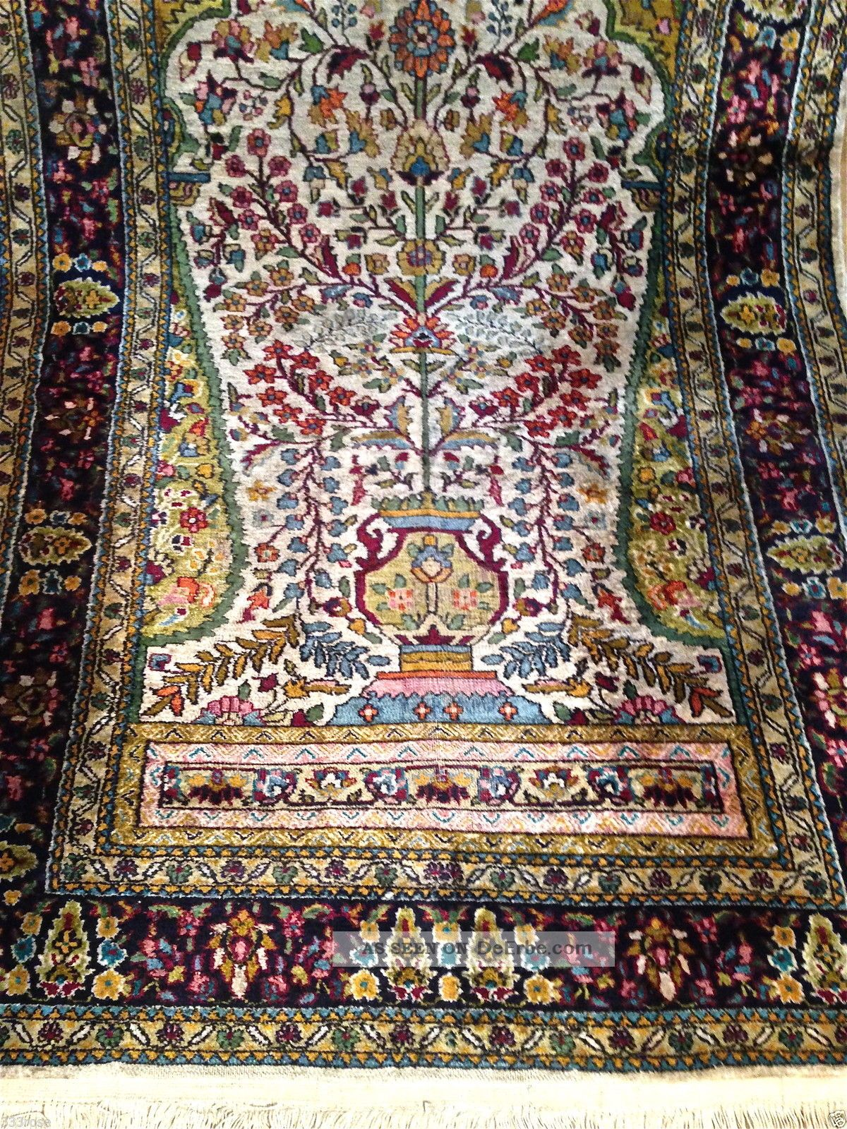 teppich handgekn pft natur seide antik 160x91cm carpet tappeto 4600 dm. Black Bedroom Furniture Sets. Home Design Ideas