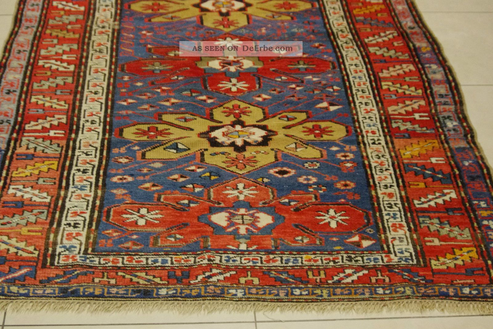 antik kazak teppich kaukasus 260x128cm antique caucasian rug tappeto tapis 0802. Black Bedroom Furniture Sets. Home Design Ideas