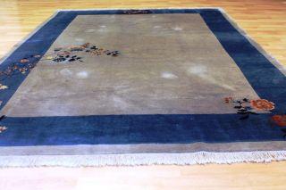 Alter Schöner Art Deco China Teppich Seiden Glanz 275x190cm 3105 Tappeto Bild