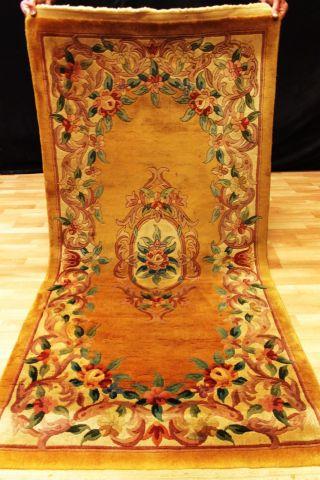 Schöner Aubusson Art Deco China Teppich 200x92 Cm 3229 Tappeto Rug Carpet Bild