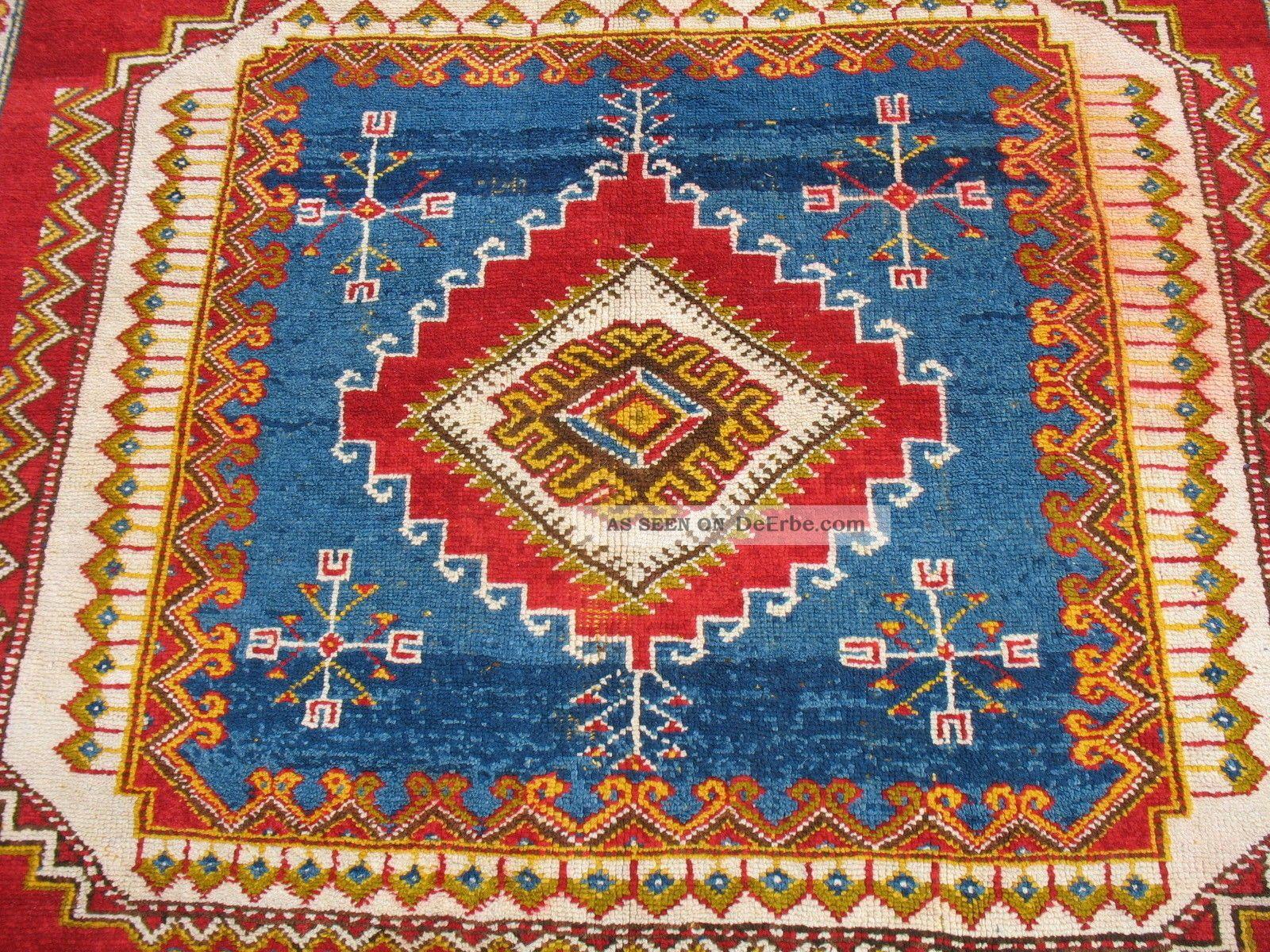 Antiker Atlas Teppich Aus Marokko, Sehr Seltenes Muster Ca