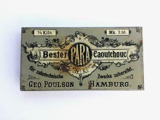 Selten Blechdose Geo Poulson Bester Para Caoutchouc - Zahnkautschuk Um 1900 Bild