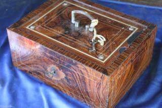 Geldkassette Kasse Alt Alte Und Kasse Braun Rahmen Schlüssel (biedermeier) Bild