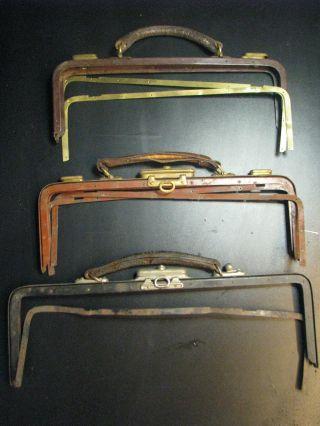 3 Taschenbügel Antik Für Ärztekoffer Für Lederbastler Bild