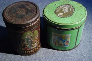Antike Blechdosen Groß 2 Stk Allhelfer Husten - Bonbon,  H.  C.  Andersen Bild