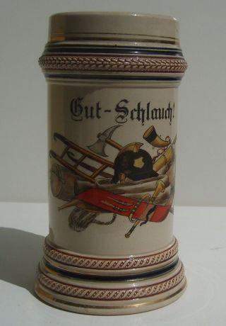 Uralter Feuerwehr Bierkrug,  Gut Schlauch,  Westerwald,  Um 1910,  Ansehen Bild
