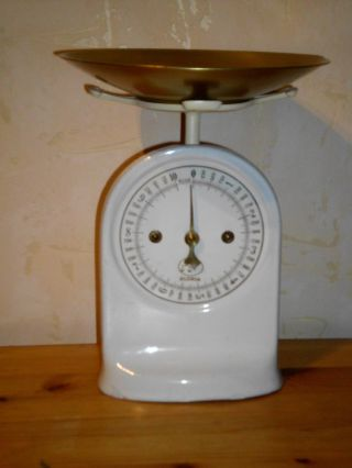 Alte Gloria Waage,  Antik,  Küchenwaage,  Geschenk,  Uralt,  Emalierte Skalafront,  Weiß Bild