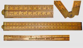 Sehr Alter,  Raffiniert Klappbarer Meterstock - Rabone - Cm/zoll,  Messinggelenke Bild