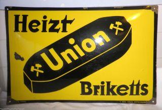 1925 Emailleschild Heizt Union Briketts WunderschÖner Klassiker Bild