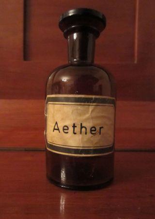 Apotheken - Flasche Apotheken - Fläschchen Apothekengefäß Aether Glas Mit Glasdeckel Bild