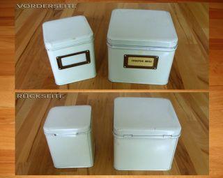 2 Alte Versch.  Kleine Blech - Dosen - - Apotheker - Dosen - - Creme - Weiße Blechdosen Bild