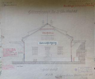 Uralt Plan Grund - Riss Zeichnung Bahnhof Oberfrohna Linie Limbach Eisenbahn 1911 Bild