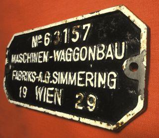 Altes Schweres Eisenbahnschild Waggonschild 1929 Waggonbaufabrik Simmering Bild