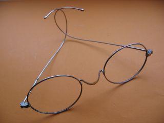 Alte Brille Antik Nickelbrille Alt Spectacles Unrund Eyeglasses Optiker Optical Bild