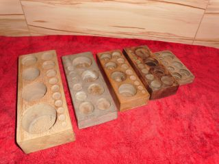 5 Stück Alte Holzblöcke Für Gewichte / Waagen Top Rar Bild