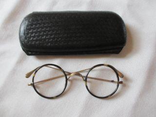 Alte Englische Brille Altes Brillenetui Antik Optiker Etui Bild