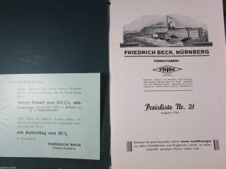 Reklame Katalog Fribe Friedrich Beck Pinsel - Fabrik Nürnberg 1934 Top Bild