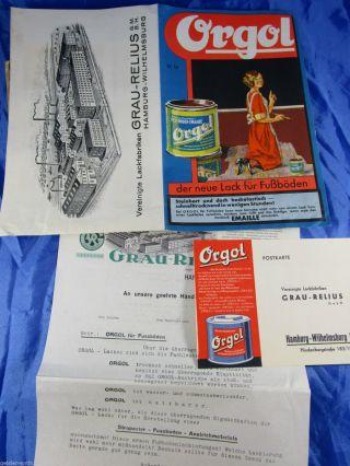 Reklame Orgol Emaille - Lack Farbtafel Grau - Relius G.  M.  B.  H.  Hamburg 1935 Bild