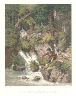 Forellenfischer,  Bad Gastein,  Kolorierte Lithographie,  Ca.  1860 Bild