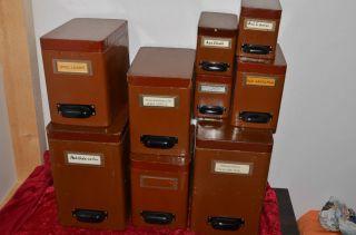 9 X Deckeldose Antike Apothekerdose Holz Pappe Deko Apotheke Bild