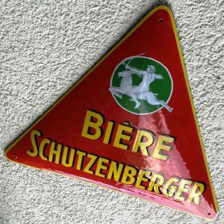 Schutzenberger Straßburg Antikes Emailschild Um 1925 Bier Brauerei Elsass Ziege Bild