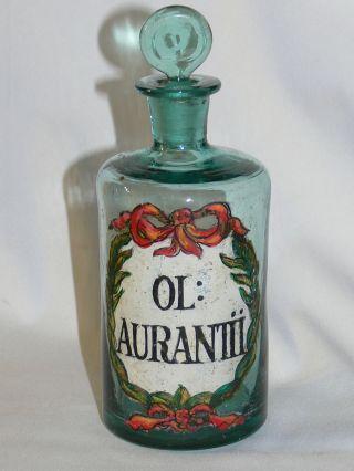 Apotheke Antik,  Barocke Enghalsflasche Grünglas Ol: Aurantii,  Um 1780 Bild