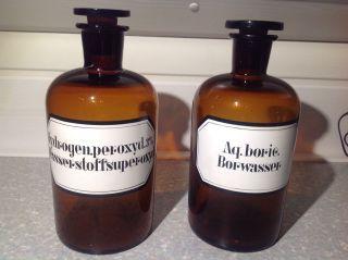 2 Braune Apothekerflaschen 1,  0 Ltr.  Mit Glasstöpsel Geschliffen Bild