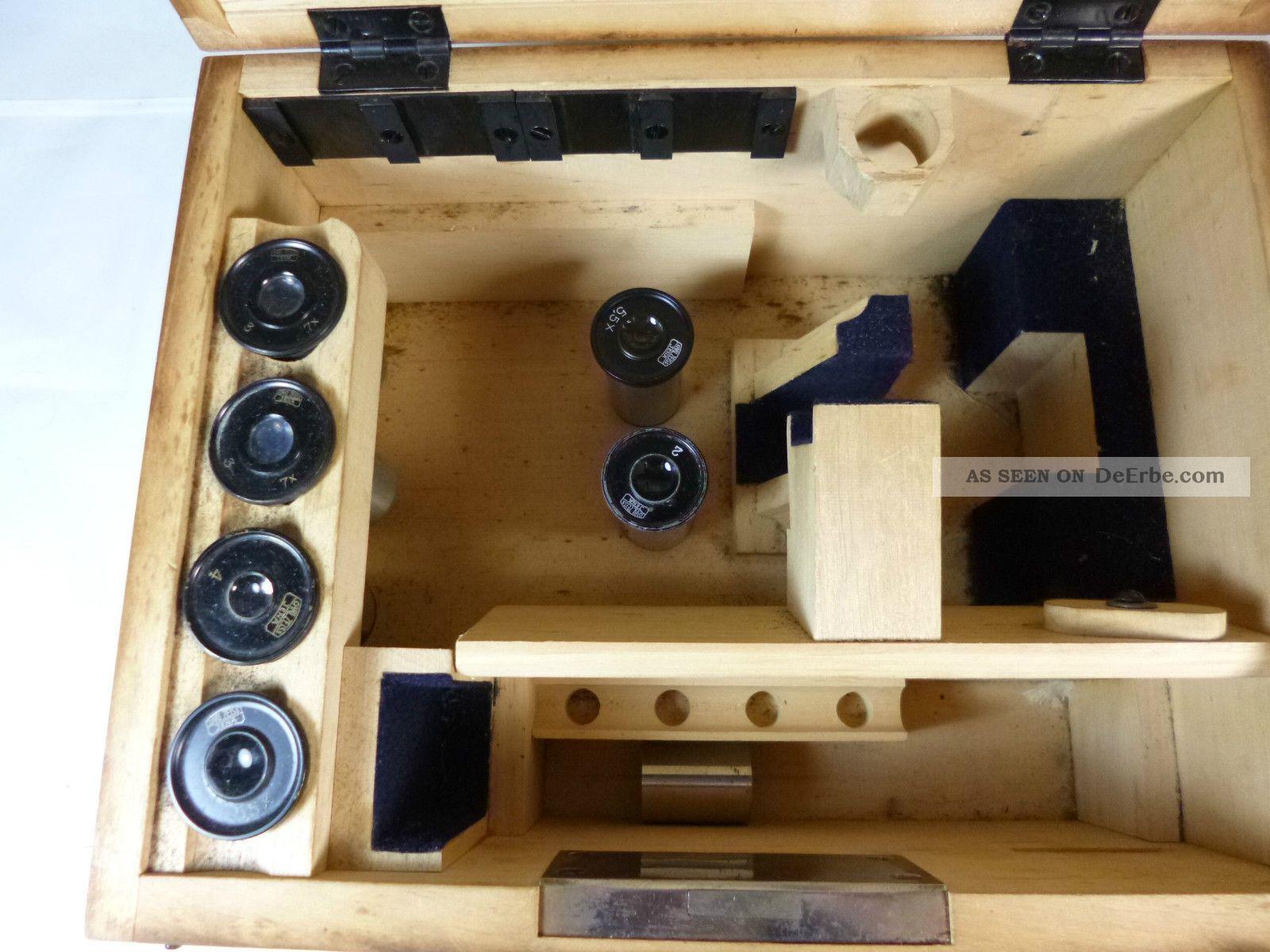 Altes hornhaut mikroskop carl zeiss jena im originalen holzkasten