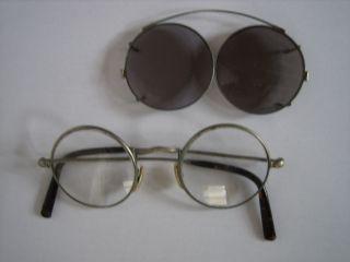 Antike Nickelbrille Brille Bügelenden In Schildpatt - Optik Bild