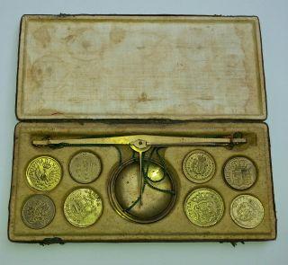 1800 Italienisch Münzwaage Goldwaage Mit 16 Münzgewichte Coin Weights Scales Bild