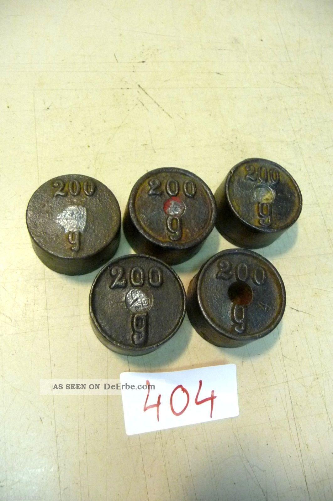 Nr.  404.  Alte Gewichte 5 X 200 Gr.  Old Weights Kaufleute & Krämer Bild