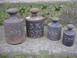 4 Alte Gewichte Für Dezimalwaage 5 Kg 2 Kg 1 Kg Antik Deko Landhaus Shabby Bild