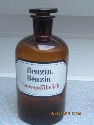 Braune 1,  0 Ltr.  Apothekerflasche Alt Mit Glasstöpsel Eingeschliffen Bild