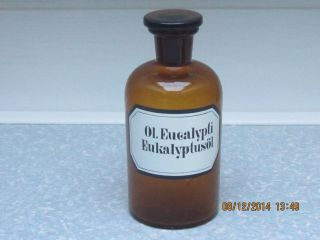 Braune Apothekerflasche 0,  5 Liter Eukalyptusöl Deko Alt Mit Glasstöpsel Bild