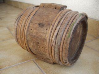 Antikes Originales Kleines Holz - Fäßchen - 13 - Fach Gebunden Um 1800/20 Bild