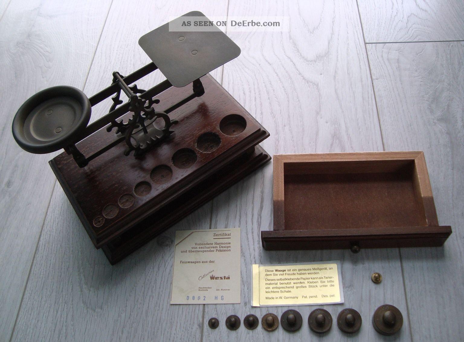 Feinwaage Briefwaage Apothekerwaage Westawaage Gewichte Holz Messing Zertifikat Kaufleute & Krämer Bild