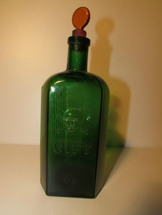 Sehr Alte Totenkopf Gift Flasche Aus Glas Bild