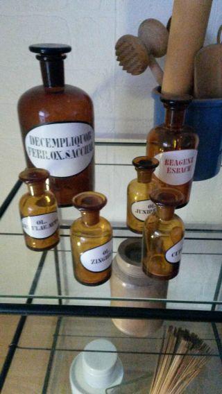 6 Alte Apothekerflaschen Verschiedene Größen Bild