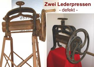 B14/ Zwei Antike Schuster - Lederwalzen - Lederpressen,  Gustav Rafflenbeul,  Deko Bild