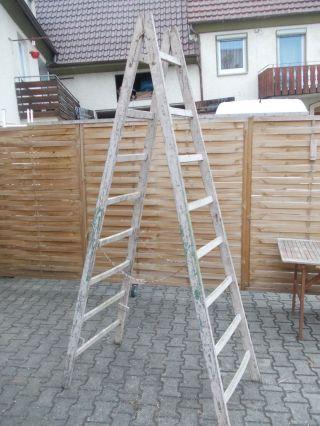 Alte Holz Leiter,  Alte Bock Leiter,  Deko Holz Leiter Bild