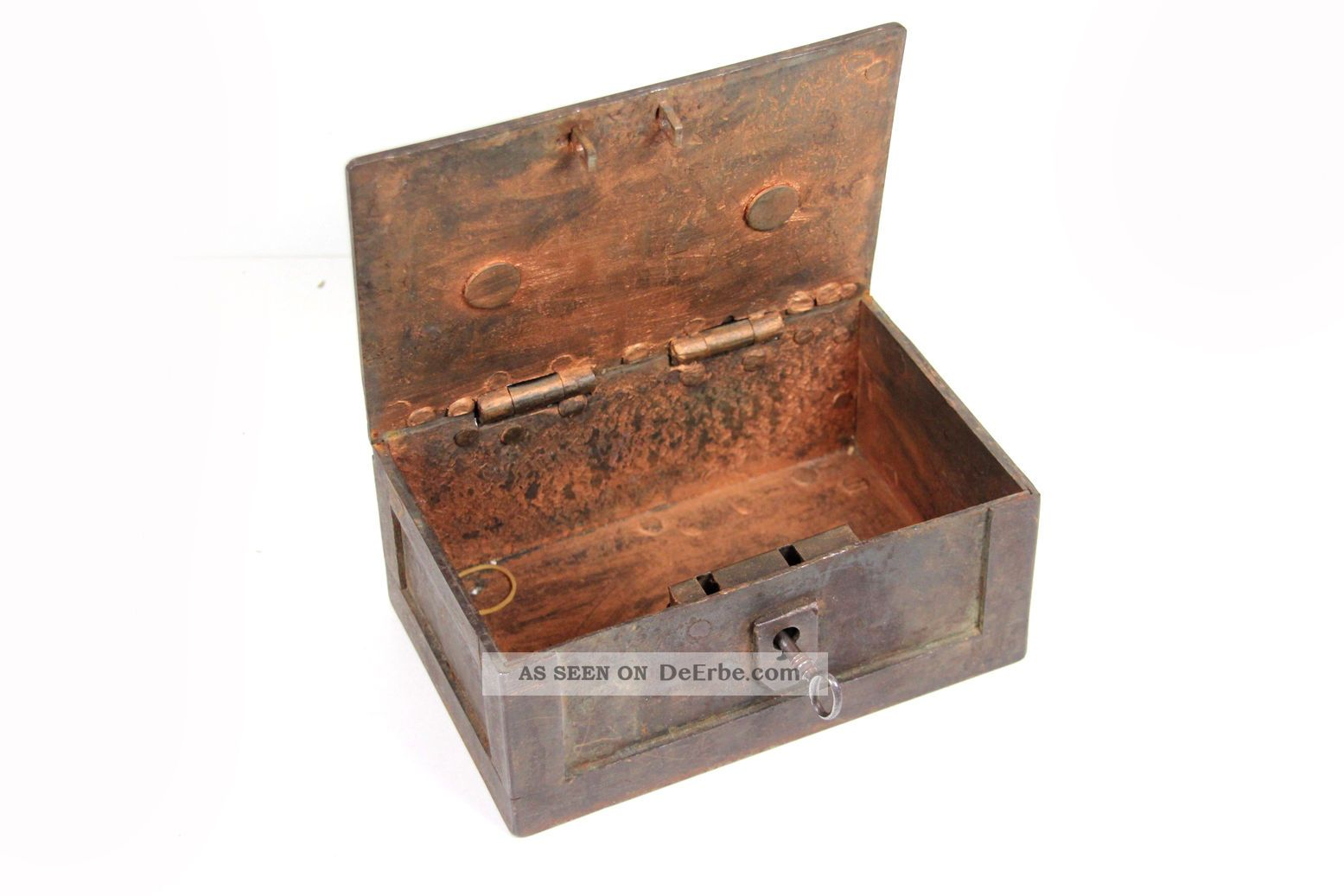 Antike Metall - Geldkassette 20x9,  5x13 Cm Geldkasse Münzkassette Kupfer Kassette Kaufleute & Krämer Bild