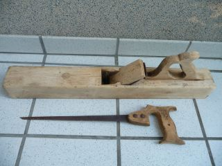 Antiker.  Alter 62cm Langer Holzhobel/ Handhobel Lang,  Helles Hartholz & Handsäge Bild