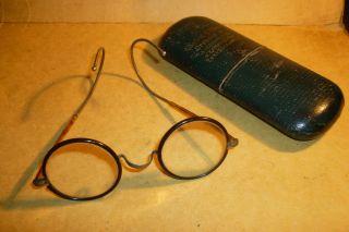 Schöne Originale Alte Nickelbrille Mit Gespinstbügeln - Horn Oder Hornoptik Bild